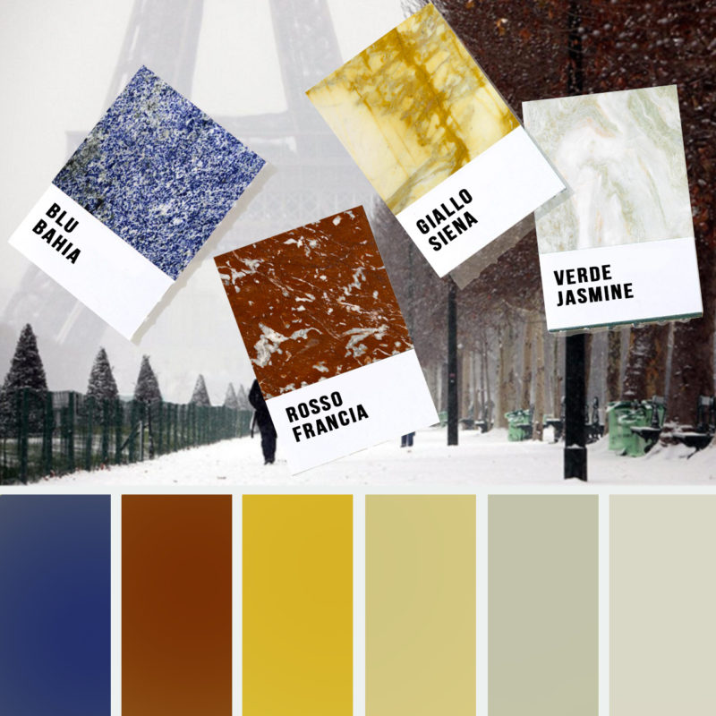 The colors of marble: snowy metropolis and winter shades